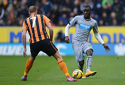 Newcastle United's Massadio Haidara competes with Hull City's David Meyler - Photo mandatory by-line: Richard Martin-Roberts/JMP - Mobile: 07966 386802 - 31/01/2015 - SPORT - Football - Hull - KC Stadium - Hull City v Newcastle United - Barclays Premier League