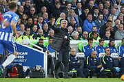 Manchester United Manager Jose Mourinho gestures during the Premier League match between Brighton and Hove Albion and Manchester United at the American Express Community Stadium, Brighton and Hove, England on 4 May 2018. Picture by Phil Duncan.