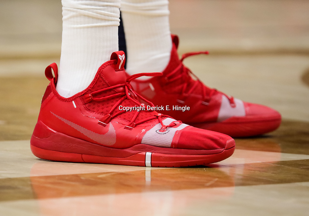 Oct 23, 2018; New Orleans, LA, USA; A detail of shoes worn by New Orleans Pelicans forward Anthony Davis during the second half against the Los Angeles Clippers at the Smoothie King Center. The Pelicans defeated the Clippers 116-109. Mandatory Credit: Derick E. Hingle-USA TODAY Sports