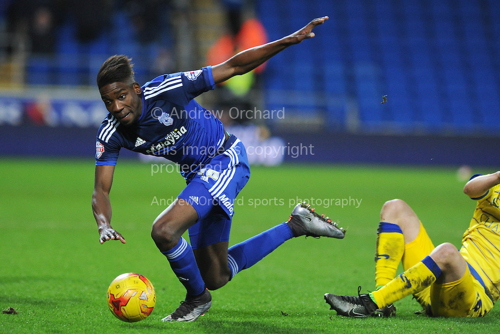 Samuel Ameobi of Cardiff city in action. Skybet football league championship match, Cardiff city v Sheffield Wednesday at the Cardiff city stadium in Cardiff, South Wales on Saturday 12th December 2015.<br /> pic by Andrew Orchard, Andrew Orchard sports photography.