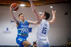 Glas Gregor of Slovenia vs Hughes  Theo of Great Britain during basketball match between National teams of Great Britain and Slovenia in the Quarter-Final of FIBA U18 European Championship 2019, on August 1, 2019 in Nea Ionia Hall, Volos, Greece. Photo by Vid Ponikvar / Sportida