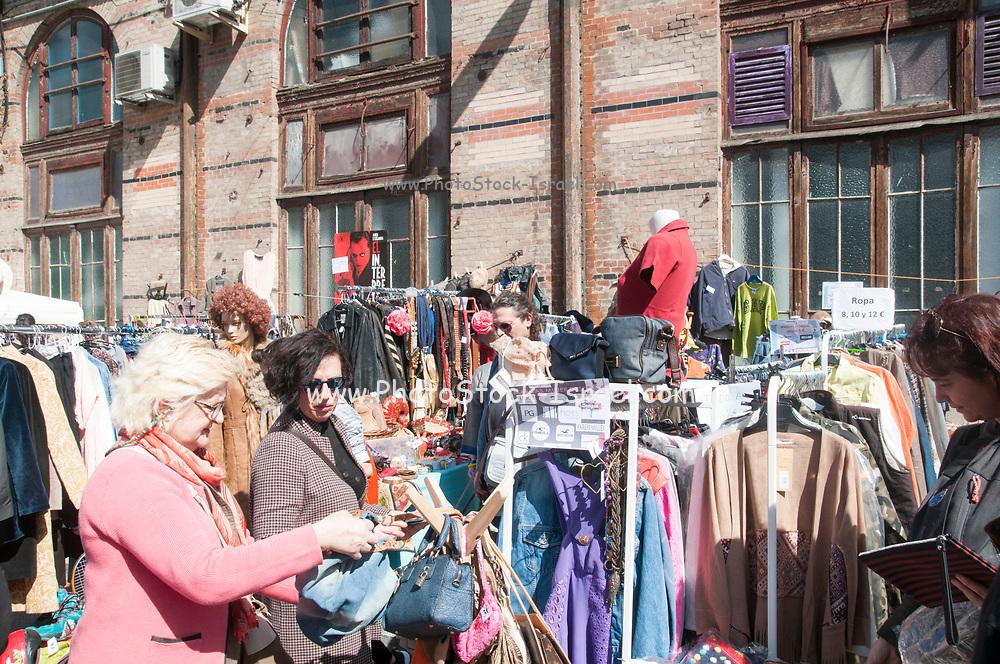 Mercado de Motores Saturday flea market at the Madrid Railway Museum (Museo del Ferrocarril de Madrid). Madrid, Spain