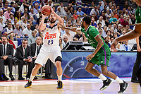 Real Madrid's Sergio Llull and Unicaja Malaga's Kyle Fogg during semi finals of playoff Liga Endesa match between Real Madrid and Unicaja Malaga at Wizink Center in Madrid, June 02, 2017. Spain.<br /> (ALTERPHOTOS/BorjaB.Hojas)