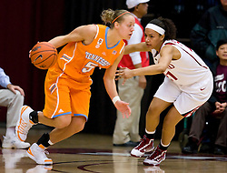 December 19, 2009; Stanford, CA, USA;  Tennessee Lady Volunteers guard/forward Angie Bjorklund (5) is guarded by Stanford Cardinal guard Rosalyn Gold-Onwude (21) during the first half at Maples Pavilion.  Stanford defeated Tennessee 67-52.