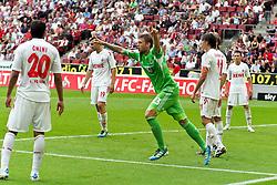 06.08.2011,  Rhein Energie Stadion, Koeln, GER, 1.FBL, 1. FC Koeln vs Vfl Wolfsburg, im Bild.Torjubel / Jubel  nach dem 0:2 durch Marcel Schäfer / Schaefer (Wolfsburg #4) (nicht im Bild) / Marco Russ (Wolfsburg #23) jubelt..// during the 1.FBL, 1. FC Koeln vs Vfl Wolfsburg on 2011/08/06, Rhein-Energie Stadion, Köln, Germany. EXPA Pictures © 2011, PhotoCredit: EXPA/ nph/  Mueller *** Local Caption ***       ****** out of GER / CRO  / BEL ******