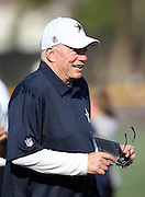 Dallas Cowboys owner Jerry Jones looks on during the second day of the Dallas Cowboys 2016 NFL training camp football practice held on Sunday, July 31, 2016 in Oxnard, Calif. (©Paul Anthony Spinelli)