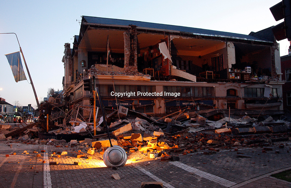 Destruction in Christchurch central city after the 7.4 earthquake. 4 September 2010. Photo: William Booth/PHOTOSPORT
