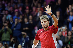 21.11.2014, Stade Pierre Mauroy, Lille, FRA, Davis Cup Finale, Frankreich vs Schweiz, im Bild Stan Wawrinka (SUI) // during the Davis Cup Final between France and Switzerland at the Stade Pierre Mauroy in Lille, France on 2014/11/21. EXPA Pictures © 2014, PhotoCredit: EXPA/ Freshfocus/ Daniela Frutiger<br /> <br /> *****ATTENTION - for AUT, SLO, CRO, SRB, BIH, MAZ only*****