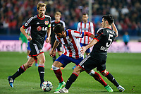 Atletico de Madrid´s Raul Garcia (C) and Bayer 04 Leverkusen´s Spahic during the UEFA Champions League round of 16 second leg match between Atletico de Madrid and Bayer 04 Leverkusen at Vicente Calderon stadium in Madrid, Spain. March 17, 2015. (ALTERPHOTOS/Victor Blanco)