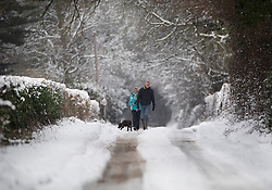 © Licensed to London News Pictures. 01/02/2019. Shiplake, UK. A couple walk their dog in a snow covered lane near Shiplake in South Oxfordshire after overnight snow falls and continuing low temperatures. Photo credit: Peter Macdiarmid/LNP