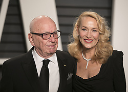 February 26, 2017 - Beverly Hills, California, U.S - Rupert Murdoch & Jerry Hall on the red carpet at the 2017 Vanity Fair Oscar Party held at the Wallis Annenberg Center in Beverly Hills, California, Sunday February 26, 2017. (Credit Image: © Prensa Internacional via ZUMA Wire)