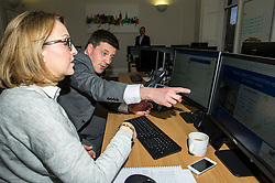 Pictured: Jamie Hepburn and Claire Barrett, Grant Properties<br /> <br /> Employability and training minister Jamie Hepburn MSP, visited Grant Property in Edinburgh today to announce the latest labour market statistics and to award the company the 350th Investors in Young People award. <br /> <br /> Ger Harley | EEm 14 December 2016