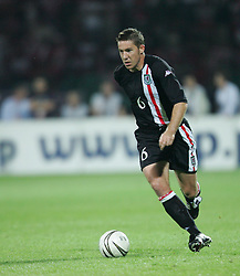 WARSAW, POLAND - WEDNESDAY, SEPTEMBER 7th, 2005: Wales' David Partridge in action against Poland during the World Cup Group Six Qualifying match at the Legia Stadium. (Pic by David Rawcliffe/Propaganda)