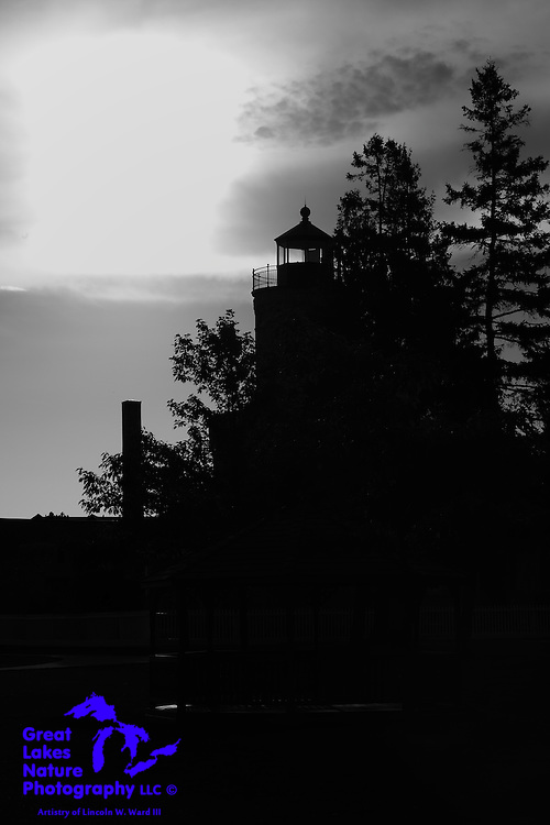 The beautiful Mackinaw City Lighthouse, caught in silhouette late on an October eve in 2016.