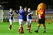 Liam McAlinden (19) of Exeter City celebrates at full time after a 2-0 win over Grimsby Town during the EFL Sky Bet League 2 match between Exeter City and Grimsby Town FC at St James' Park, Exeter, England on 11 November 2017. Photo by Graham Hunt.