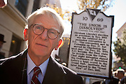 CHARLESTON, SC - DECEMBER 20: Charleston Mayor Joe Riley unveils a historical marker December 20, 2010 in observance of the 150th Anniversary of South Carolina's Secession from the Union in Charleston, SC. South Carolina was the first state to secede resulting in the US Civil War.