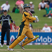 Australian batter Jodie Fields  in action  during the Australia V New Zealand group A match at North Sydney Oval in the ICC Women's World Cup Cricket Tournament, in Sydney, Australia on March 8, 2009. New Zealand beat Australia by 13 runs in the (D/L method)  rain affected match. Photo Tim Clayton