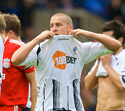 BOLTON, ENGLAND - Saturday, August 29, 2009: Bolton Wanderers' Sean Davis is sent off during the Premiership match against Liverpool at the Reebok Stadium. (Photo by David Rawcliffe/Propaganda)