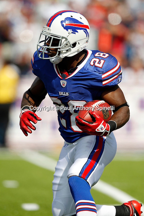 Buffalo Bills running back C.J. Spiller (28) returns a kickoff during the NFL week 3 football game against the New England Patriots on Sunday, September 25, 2011 in Orchard Park, New York. The Bills won the game 34-31. ©Paul Anthony Spinelli