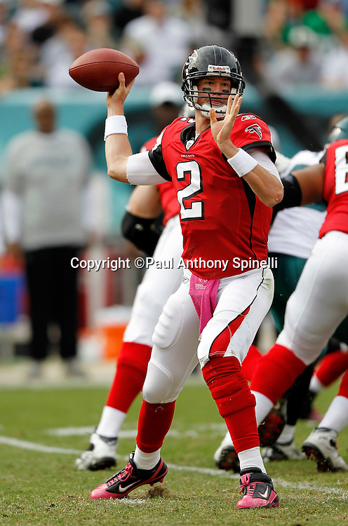 Atlanta Falcons quarterback Matt Ryan (2) throws a pass during the NFL week 6 football game against the Philadelphia Eagles on Sunday, October 17, 2010 in Philadelphia, Pennsylvania. The Eagles won the game 31-17. (©Paul Anthony Spinelli)