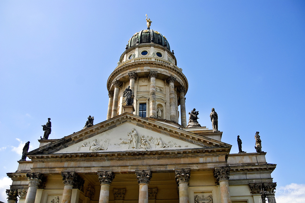 The Französischer Dom or French Cathedral is located on the  Gendarmenmarkt in Berlin, Germany.