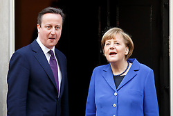 © licensed to London News Pictures. London, UK 27/02/2014. German Chancellor Angela Merkel meeting British Prime Minister David Cameron on Downing Street, London on Thursday, 27 February 2014. Photo credit: Tolga Akmen/LNP