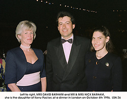 Left to right, MRS DAVID BARHAM and MR & MRS NICK BARHAM, she is the daughter of Kerry Packer, at a dinner in London on October 4th 1996. LSN 26