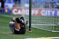 Charlton Athletic's goalkeeper Stephen Henderson reacts after he injures his leg/ankle in the 1st half. Skybet football league championship match, Cardiff city v Charlton Athletic at the Cardiff city Stadium in Cardiff, South Wales on Saturday 7th March 2015.<br /> pic by Andrew Orchard, Andrew Orchard sports photography.