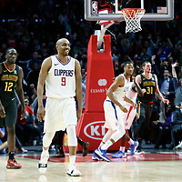 08 January 2018: LA Clippers guard C.J. Williams (9) celebrates during the LA Clippers 108-107 victory over the Atlanta Hawks, at the Staples Center, Los Angeles, California, USA.