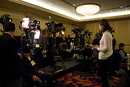 November 26th 2008 - Chicago, IL - Press Conference with newly elected President Barack Obama at the Hilton Hotel in downtown Chicago...Before the Press Conference, reporters get prepared...Obama announced new Economic Recovery Advisory Board adding former Federal Reserve Chairman Paul Volcker and Austan Goolsbee of the University of Chicago to his team today. ..Photo Credit: Heather A. Lindquist/Sipa..