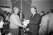 21/08/1966<br /> 08/21/1966<br /> 21 August 1966<br /> European Sea Angling Championship at Howth, Dublin. Picture shows Mr. Charles Haughey (right), Minister for Agriculture and Fisheries, presenting the 9th Prize to Mr. T. O'Leary of Woodbine Sea Angling Club at the reception in the Lawrence hotel after the competition. In the centre is Mr. Alec Webster, Organiser.
