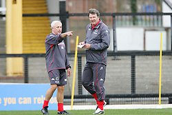 SWANSEA, WALES - TUESDAY MARCH 22nd 2005: Wales' manager John Toshack (R) and assistant Roy Evans during training at Swansea City's Vetch Field Stadium. (Pic by David Rawcliffe/Propaganda)