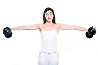 one beautiful young caucasian woman exercising workout weight training boredom  on studio isolated white background