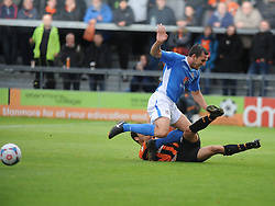 Barnets Luke Gambin Brings Down Eastleighs Craig Stanley, Barnet v Eastleigh, Vanarama Conference, Saturday 4th October 2014