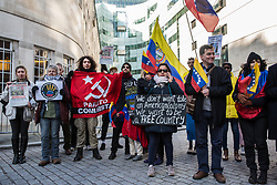 London, UK. 2nd February, 2019. Supporters of the Venezuelan government of Nicolás Maduro attend a protest organised by the Revolutionary Communist Group outside the BBC's Broadcasting House to highlight perceived British media bias in support of Juan Guaidó, the head of the National Venezuelan Assembly who had declared himself interim president of Venezuela the previous week.