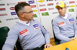 Coach Pavli Cebulj and MItja Valencic at press conference of Men Alpine Ski team and sponsor Petrol, on December 8, 2010 in Petrol, Ljubljana, Slovenia. (Photo By Vid Ponikvar / Sportida.com)