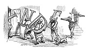 Punch Volume Index Heading. Vol 94, January-June 1888 (Moving men carry off the letters watched by Toby)