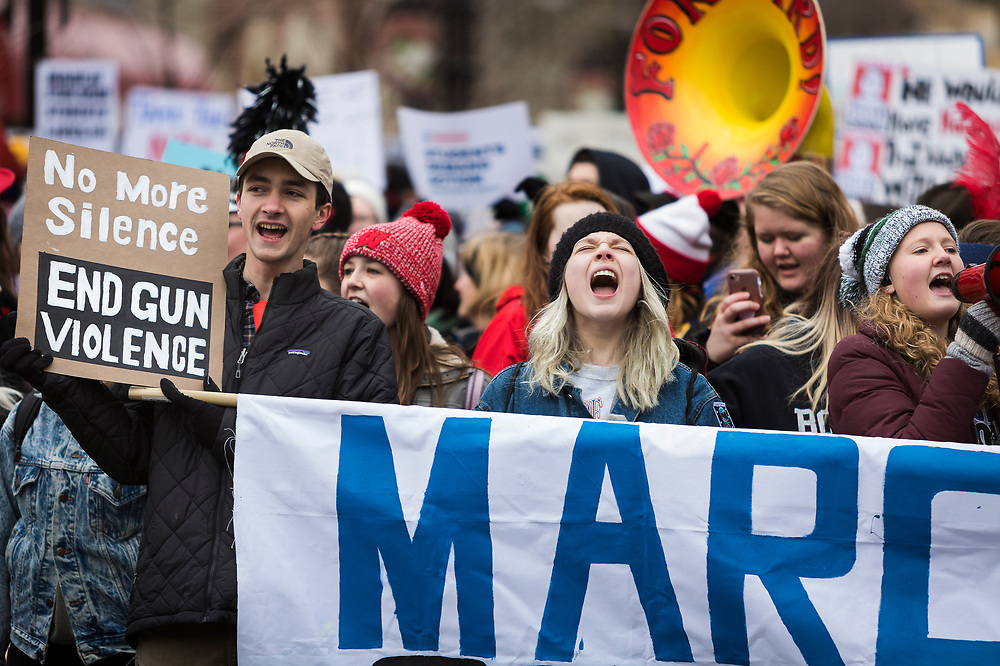 Demonstrators chant during the March for our Lives protest in Madison, Wisconsin, Saturday, March 24, 2018.