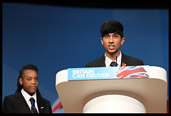 Schoolchildren speaking before Education Secretary Michael Gove  speech  at the Conservative Party Conference in Birmingham, Tuesday, 9th October 2012. Photo by: Stephen Lock / i-Images