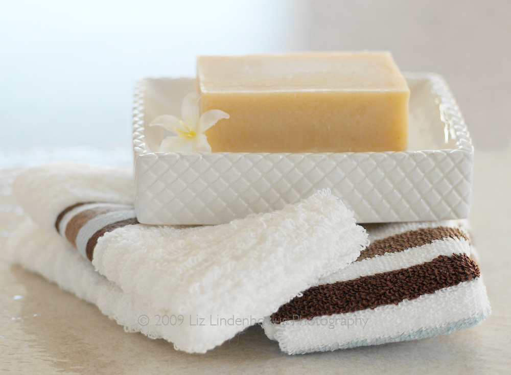 Natural Soap in dish on towels