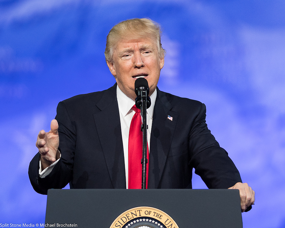 President Donald Trump at  the American Conservative Union's 2017 Conservative Political Action Conference (CPAC)
