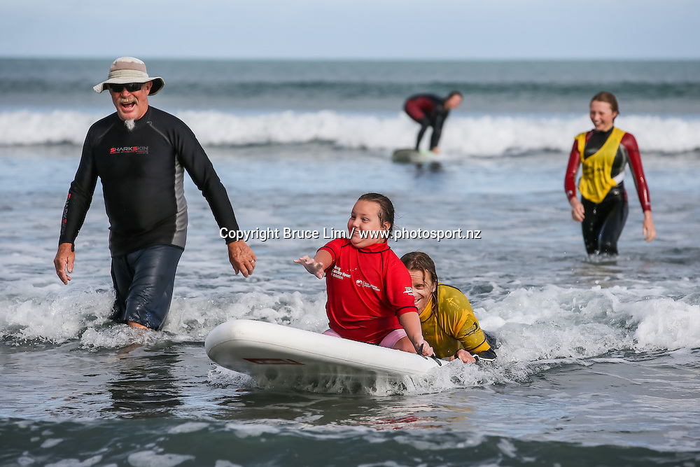 Flight Centre Halberg Disability Sport Foundation Raglan Surf Day on Sunday 20 March 2016.<br /> <br /> Copyright Photo: Bruce Lim / www.photosport.nz