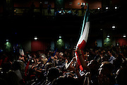La platea del Teatro Brancaccio durante un comizio di Matteo Salvini, Roma 11 Maggio 2015. Christian Mantuano / OneShot <br /> <br /> Supporter at the Teatro Brancaccio during a rally by Matteo Salvini, Rome May 11, 2015. Christian Mantuano / OneShot