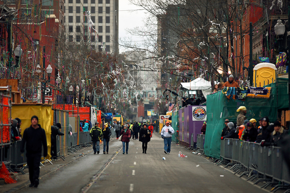 17 Feb 2015. New Orleans, Louisiana.<br /> Early morning Mardi Gras Day. The main road where parades will pass the main viewing stands later in the morning. St Charles Avenue before the big parades start to roll.<br /> Photo; Charlie Varley/varleypix.com
