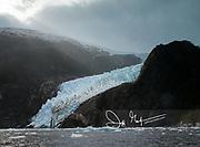 Glacier and fjord in Parque Nacional Alberto de Agostini in Chile