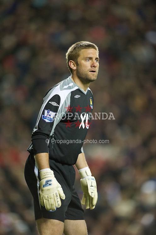 LIVERPOOL, ENGLAND - Wednesday, March 5, 2008: West Ham United's goalkeeper Robert Green during the Premiership match against Liverpool at Anfield. (Photo by David Rawcliffe/Propaganda)