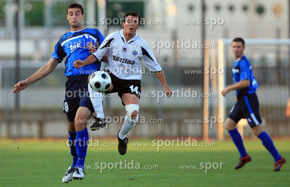 Bojan Dukic of Gorica vs Adrian Mifsud of Hibernians during 2nd match of 1st round Intertoto Cup soccer match between ND Gorica and Hibernians FC at Sports park, on June 28,2008, in Nova Gorica, Slovenia. (Photo by Vid Ponikvar / Sportal Images)