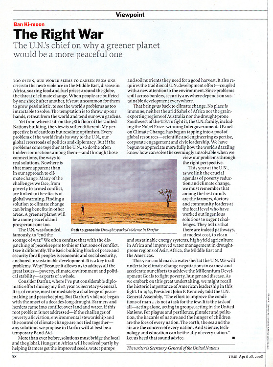 Time Magazine, 20080428, page 58: Tearsheet from Time Magazine. Story Title: The Right War. Author: UN Secretary General Ban Ki- Moon