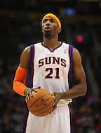 Feb. 17, 2011; Phoenix, AZ, USA; Phoenix Suns forward Hakim Warrick (21) reacts on the court against the Dallas Mavericks at the US Airways Center. The Mavericks defeated the Suns 112-106. Mandatory Credit: Jennifer Stewart-US PRESSWIRE.