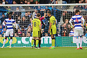 Rotherham United defender Aimen Belaid (26) yellow card and giving away penalty during the EFL Sky Bet Championship match between Queens Park Rangers and Rotherham United at the Loftus Road Stadium, London, England on 18 March 2017. Photo by Matthew Redman.